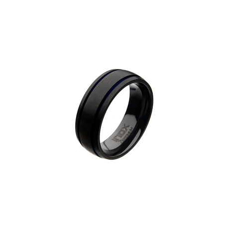 Zirconium Line Rings // Black + Blue (Size 10)
