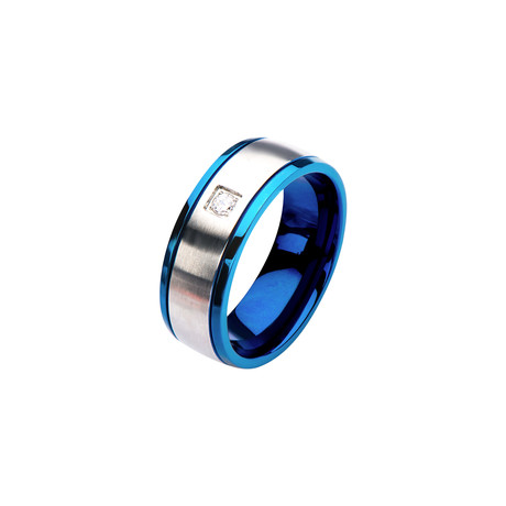 Steel + Blue IP Clear Polished Ring (Size 9)