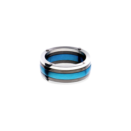 Steel Plated Polished Ring // Black + Blue (Size 9)