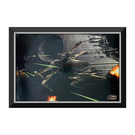 Death Star Dogfight X-Wings & Tie Fighters // Framed Canvas