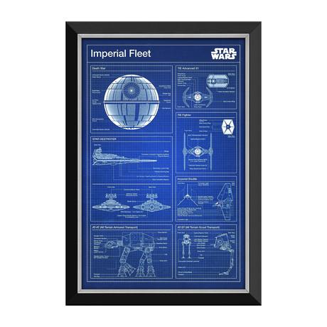 Death Star & Imperial Fleet Blueprints // Framed Canvas