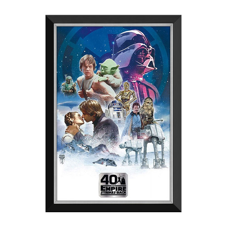 Empire Strikes Back 40th Anniversary Movie Poster // Framed Canvas Print