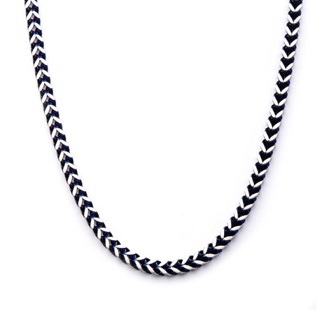"Steel Rounded Franco Chain Necklace // Blue (22"")"