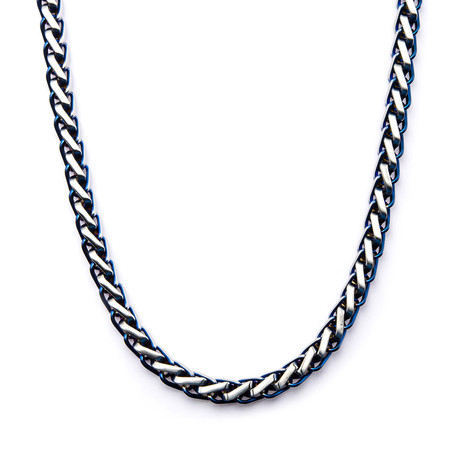 Steel Rounded Franco Chain Necklace // Blue // 24""