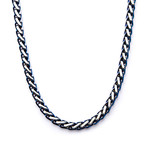 """Steel Rounded Franco Chain Necklace // Blue (22"""")"""