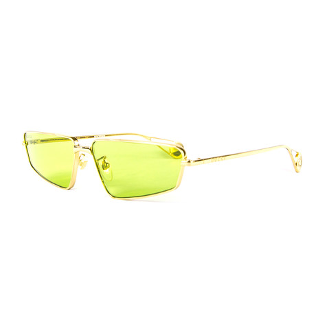 Unisex Rectangular Sunglasses // Green + Gold