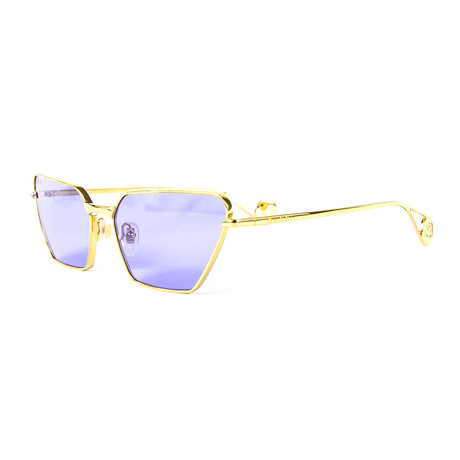 Women's Geometric Sunglasses // Gold + Blue