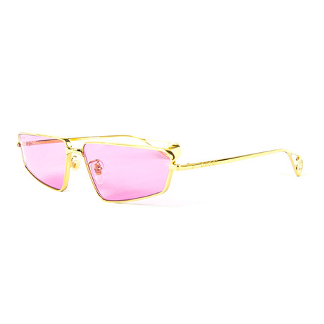 Unisex Rectangular Sunglasses // Gold + Pink
