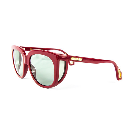 Women's Rectangular Square Sunglasses // Green + Burgundy