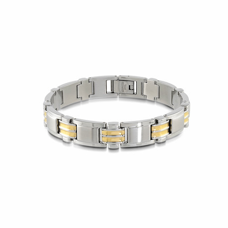 Stainless Steel Two-Tone Bracelet // Gold Plated (XS)