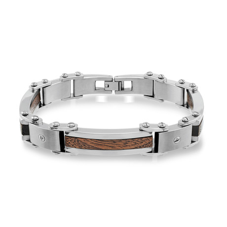Stainless Steel Wood Inlay Bracelet // Silver
