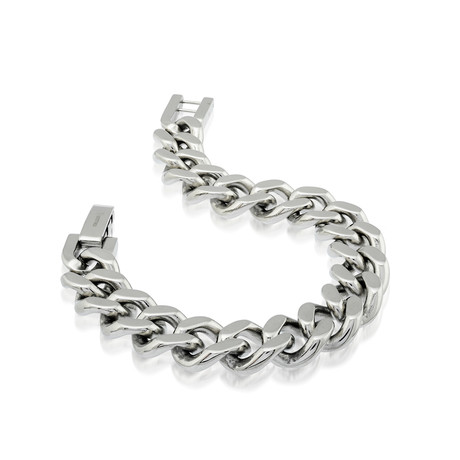 Polished Stainless Steel Curb Link Bracelet // 10mm // Silver