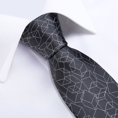Cubed Silk Tie // Charcoal