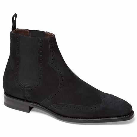 1947 Chelsea Boot Brogue // Suede // Black (US: 7)