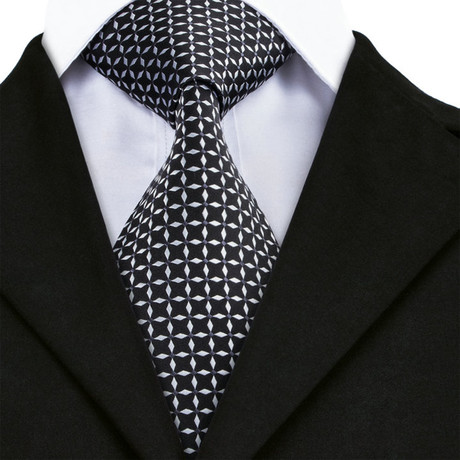 Franco Handmade Silk Tie // Black + White