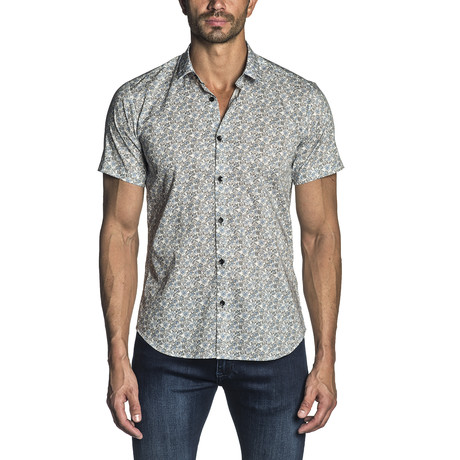 Floral Short-Sleeve Button-Up Shirt I // White + Blue (S)