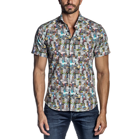 Short-Sleeve Button-Up Shirt // White + Multicolor (S)
