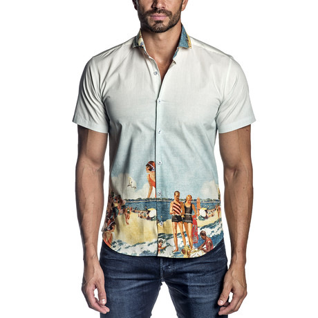 Short-Sleeve Button-Up Shirt // Multicolor (S)