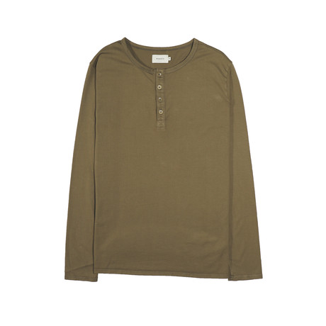 Basis Long Sleeve Henley // Dark Olive (S)