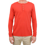 Basis Long Sleeve Henley // Blood Orange (S)