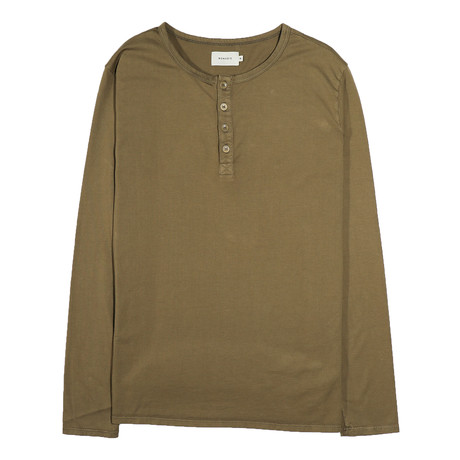 Basis Long Sleeve Henley // Mud (S)