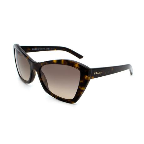 Prada // Women's PR07XS-2AU3DO Cat Eye Sunglasses // Dark Havana + Brown Gradient