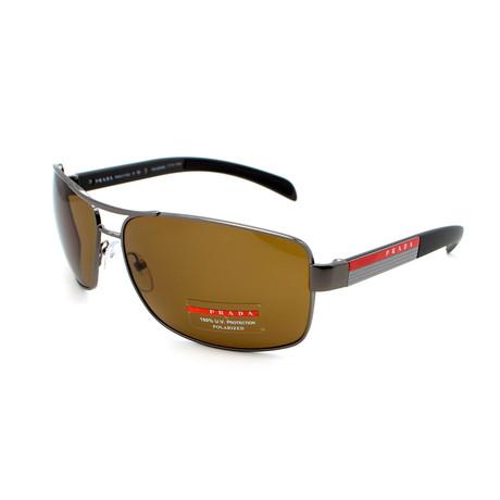 Prada Sport // Men's PS54IS-5AV5Y1 Rectangular Polarized Sunglasses // Brown
