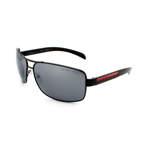 Men's PS54IS-1AB2F2 Rectangular Polarized Sunglasses // Black + Silver Mirror