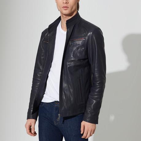 Suluova Leather Jacket // Navy Blue (L)