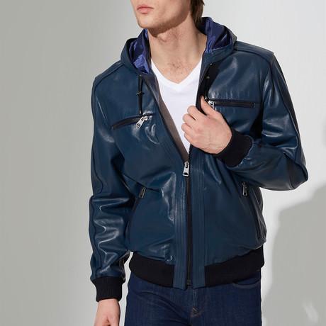 Dilovasi Leather Jacket // Dark Blue (M)