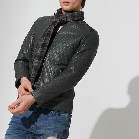 Milas Leather Jacket // Green (3XL)