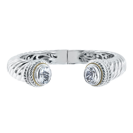 Women's White Topaz Hinged Cuff Bracelet