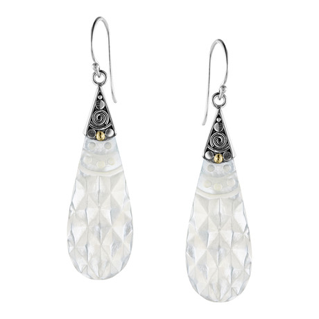 Women's Mother of Pearl Earrings // Silver + White