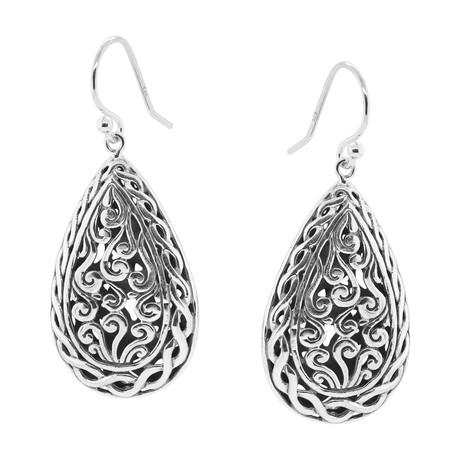 Women's Scrollwork Earrings // Silver