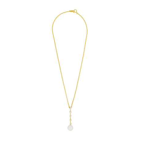 Assael 18k Yellow Gold Diamond + Freshwater Pearl Necklace
