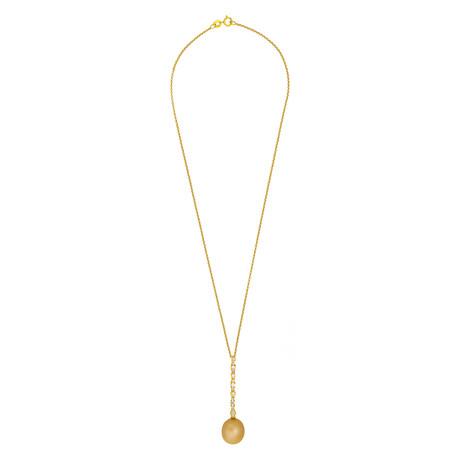 Assael 18k Yellow Gold Diamond + Golden South Sea Pearl Necklace