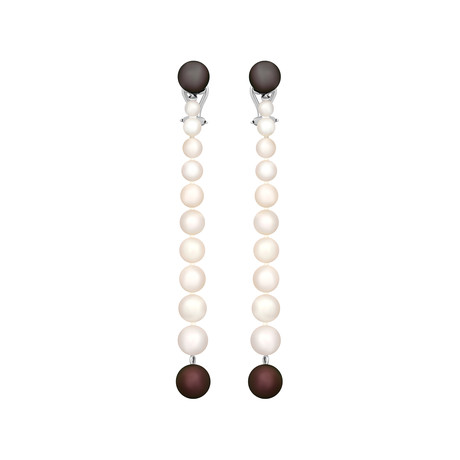 Assael 18k White Gold Japanese Akoya Pearl + Tahitian Pearl Earrings