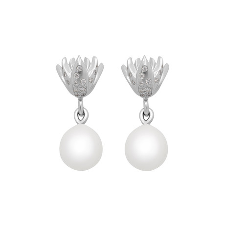 Assael Julie Parker 18k White Gold Diamond + South Sea Pearl Earrings