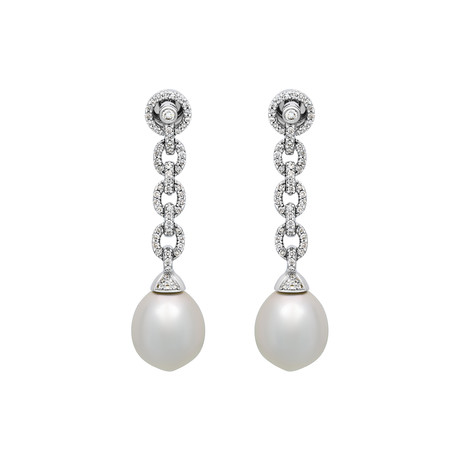 Assael 18k White Gold Diamond + South Sea Pearl Earrings V