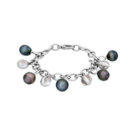 Assael 18k White Gold Moonstone + Tahitian Pearl Bracelet