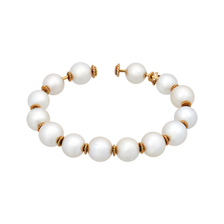 Assael 18k Yellow Gold South Sea Pearl Bangle Bracelet