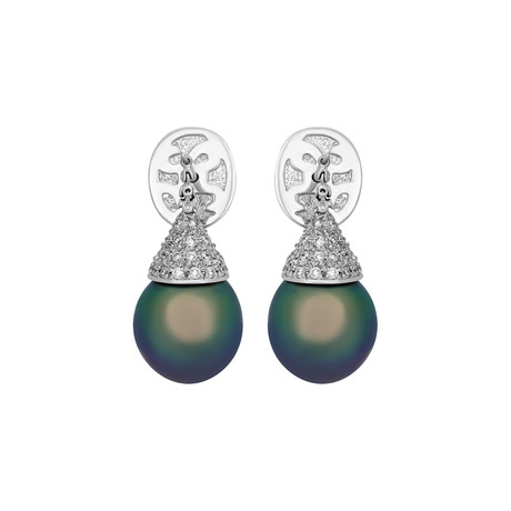 Assael 18k White Gold Diamond + Tahitian Pearl Earrings II