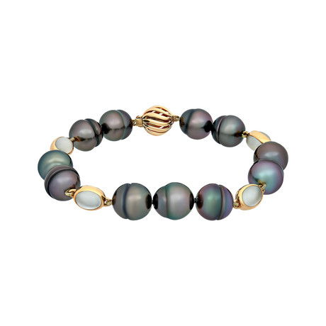 Assael 18k Yellow Gold Moonstone + Tahitian Pearl Bracelet