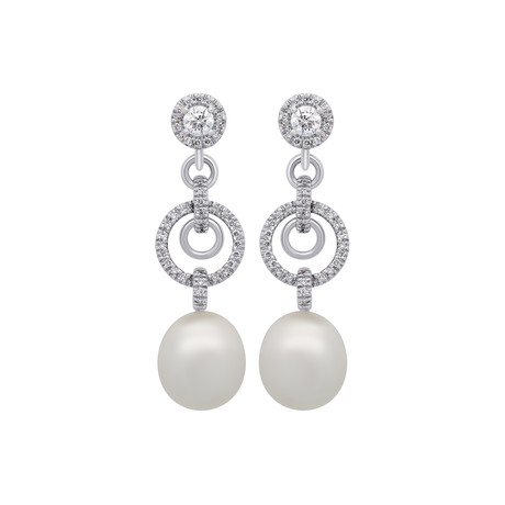 Assael 18k White Gold Diamond + South Sea Pearl Earrings II