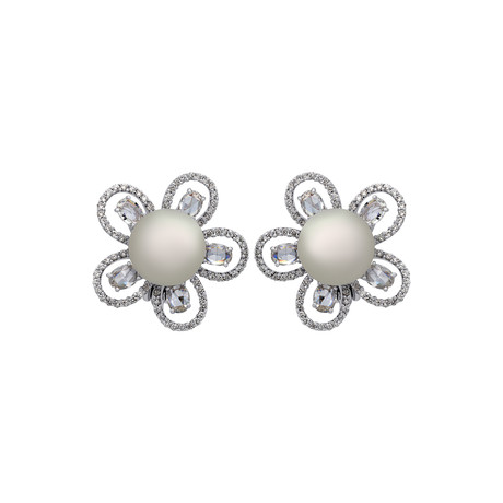 Assael 18k White Gold Diamond + South Sea Pearl Earrings IV