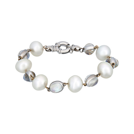 Assael 18k White Gold Moonstone + South Sea Pearl Bracelet II