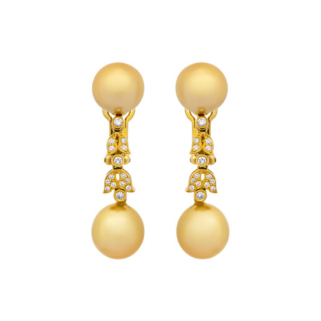Assael 18k Yellow Gold Diamond + Golden South Sea Pearl Earrings