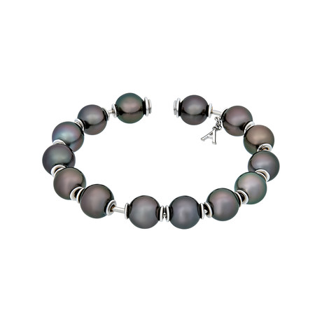 Assael 18k White Gold Tahitian Pearl Bangle Bracelet