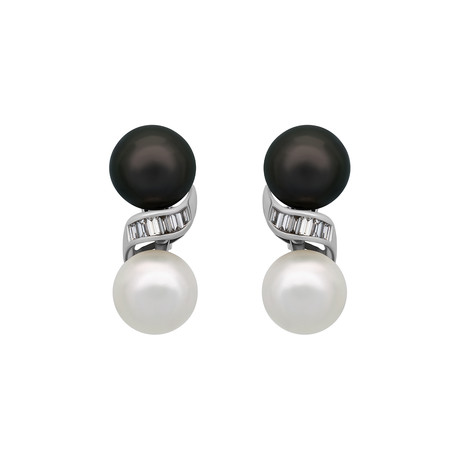 Assael 18k White Gold Diamond Tahitian Pearl + South Sea Pearl Earrings
