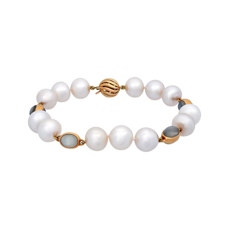Assael 18k Yellow Gold Moonstone + South Sea Pearl Bracelet